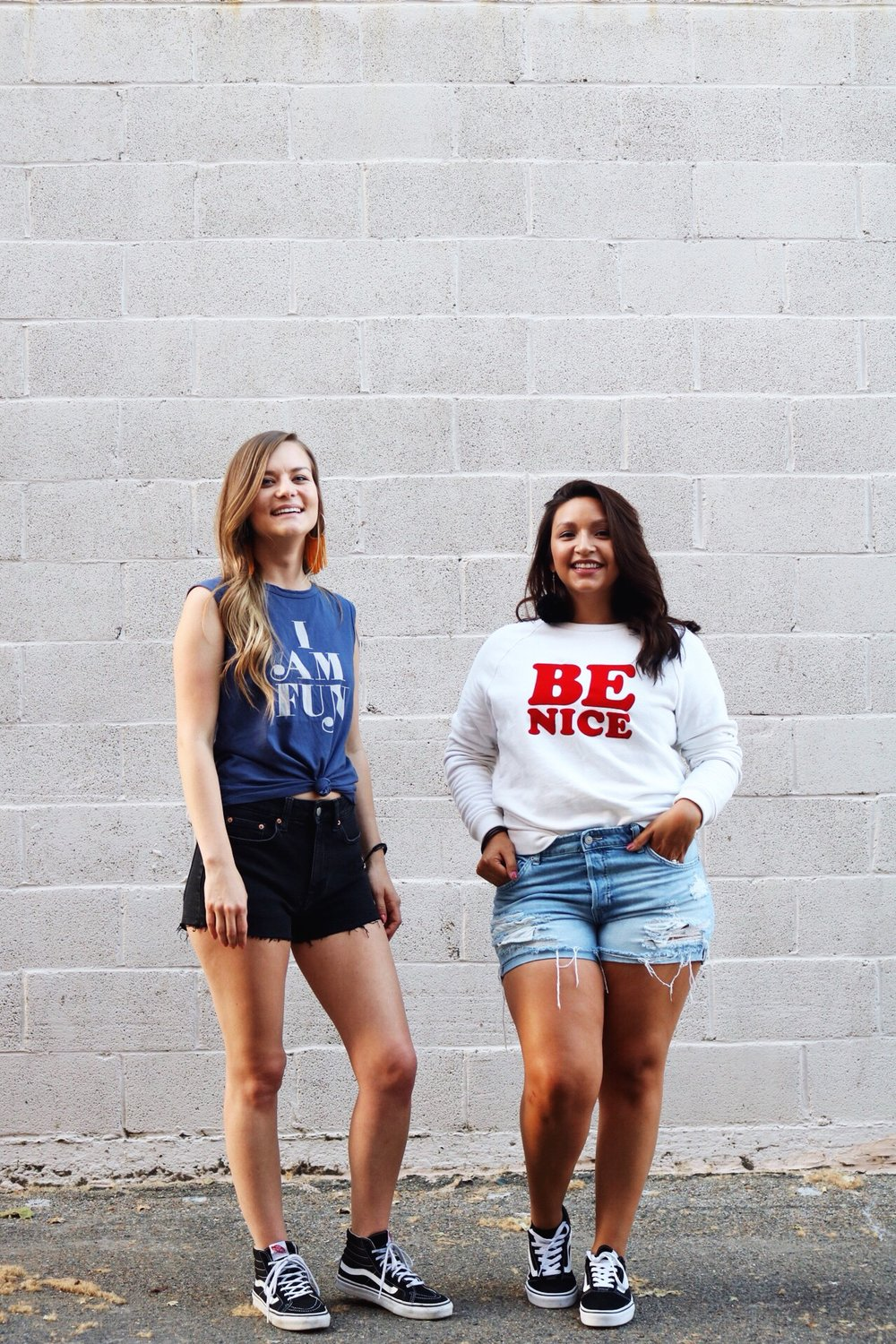 Ban.do Graphic Tees, Black High Top Vans, Confidence, Self-Love, BFF's Laughing, Yellow Fringe Earrings