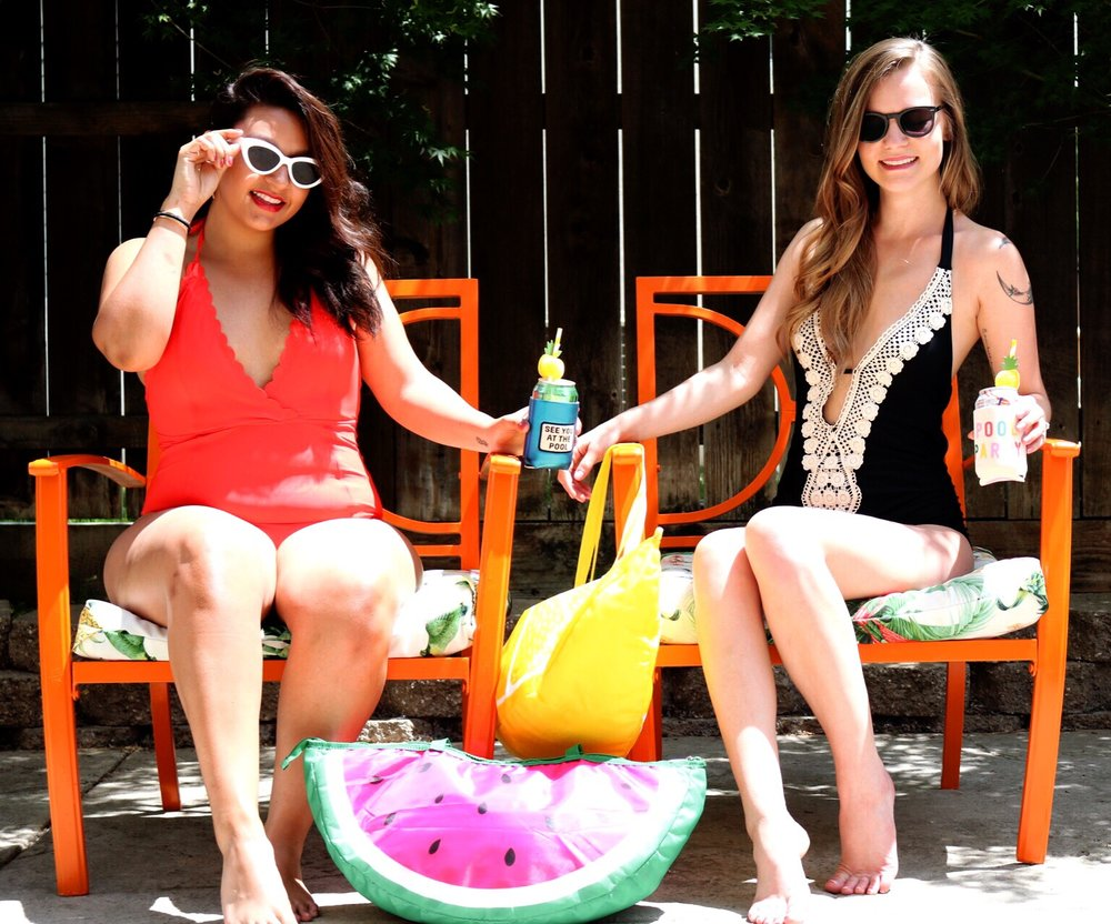 Orange Outdoor Furniture/ Watermelon Beach Bag Cooler/ Red H&M one piece swimsuit/Black Lace One Piece swimsuit