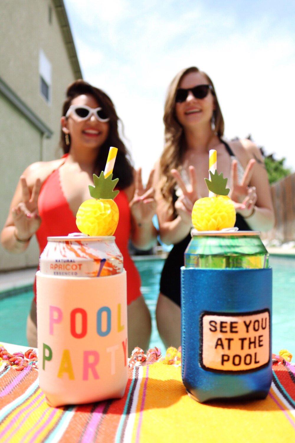 Peace out self-doubt/ Ban.do Pool Party Drink Koozie / Ban.do See You at the pool drink Koozie