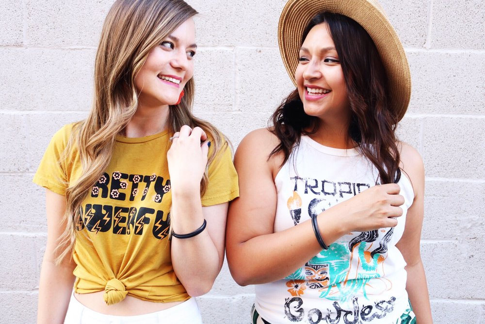 National Best Friend Day// Feminist Tee Shirts by Dazey L.A.// Tropical Goddess Tank and Pretty Powerful Tee