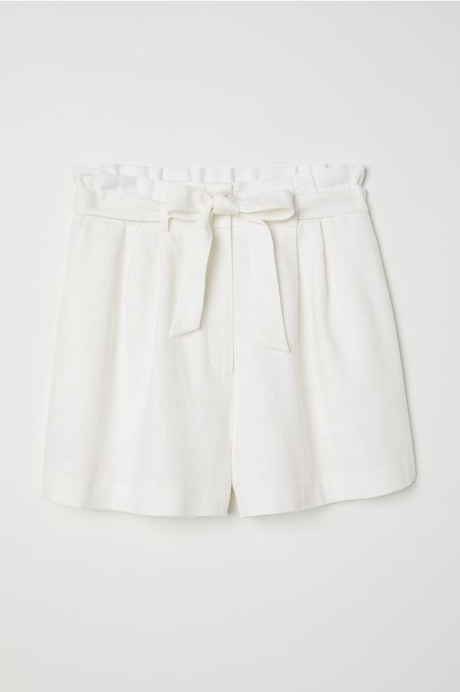 H&M White Paper Bag Shorts