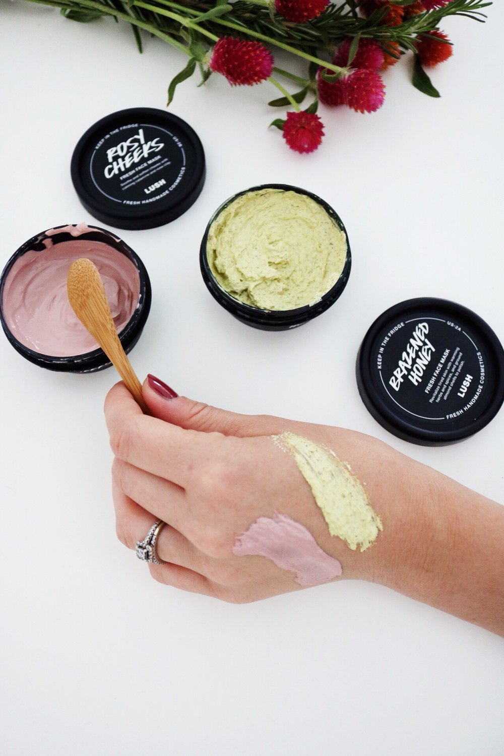 Lush Cosmetics, Fresh Face Masks, Fresh Ingredients, Rose Scented, Honey Scented