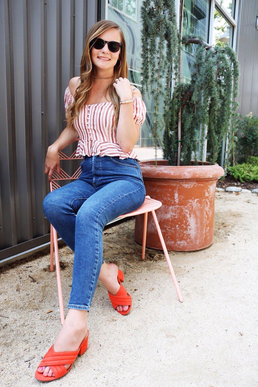 Orange Mules, Pop of Orange, Denim, High Waisted Jeans, Crop Top, Dainty Jewelry Trend