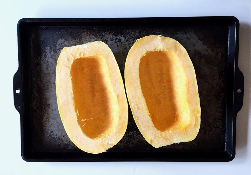 (2). Cut squash lengthwise