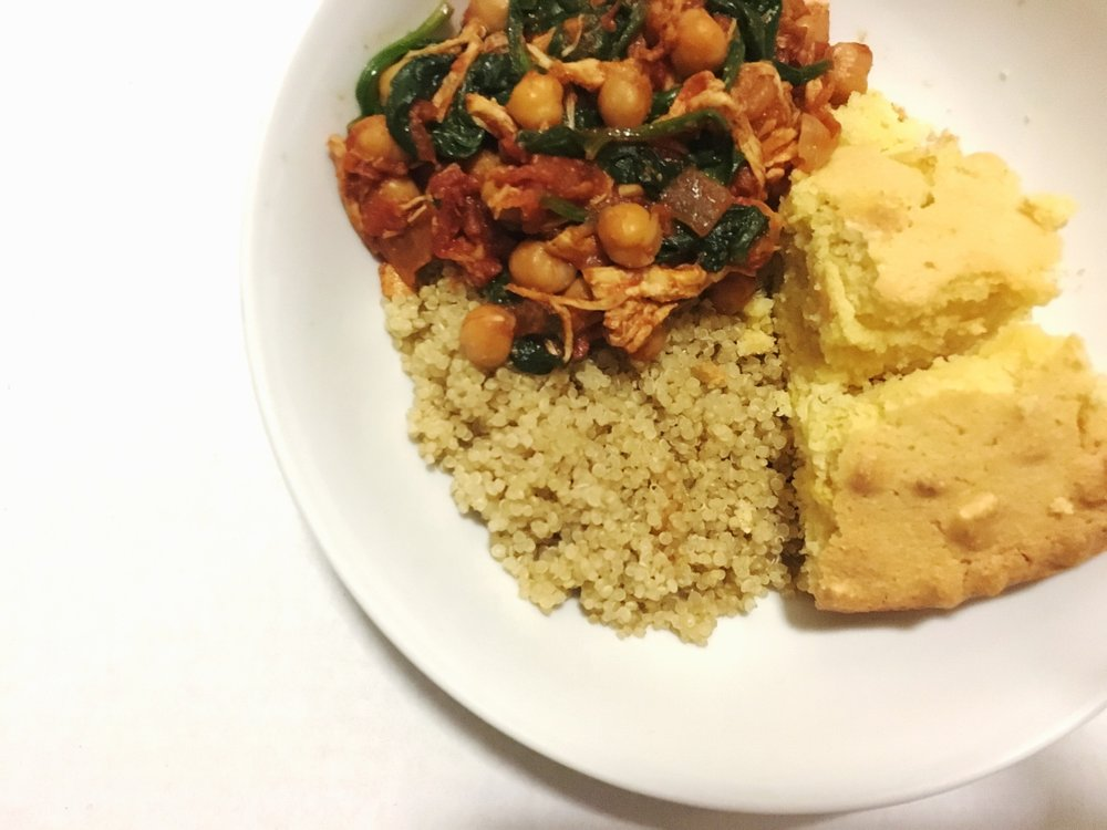 shredded chicken spinach and chickpea stew/chili