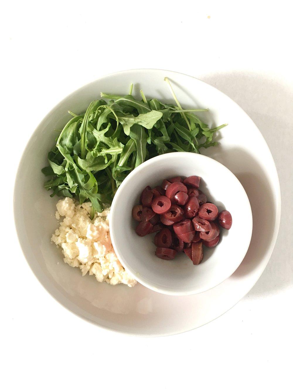feta, kalamata olives, arugula