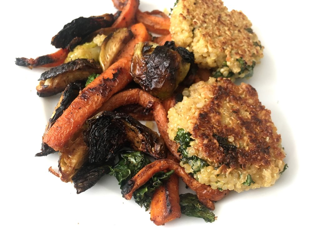 quinoa patties with roasted charred vegetables
