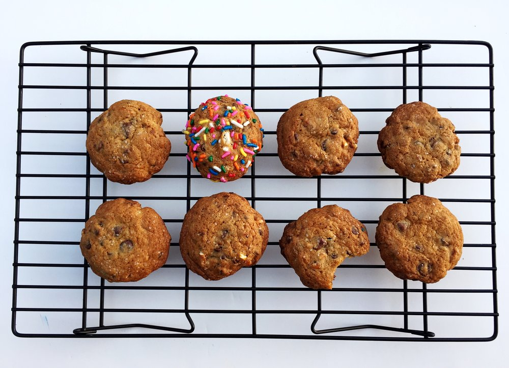 Just chilling. Always cool your cookies and baked goods on a rack!