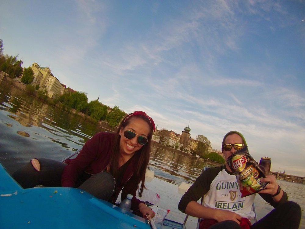 Playing ultimate tourist paddle boating with Lay's on deck in Prague --- also, that's Blake (HI Blake!)