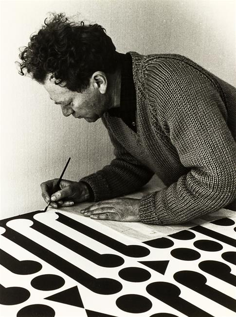 Gordon Walters working on  Painting Number Nine , 1965. Photograph Margaret Orbell