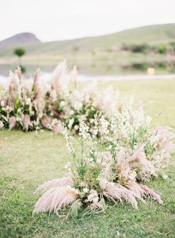 Ceremony - semi circle of dried palms/branches/grasses/florals