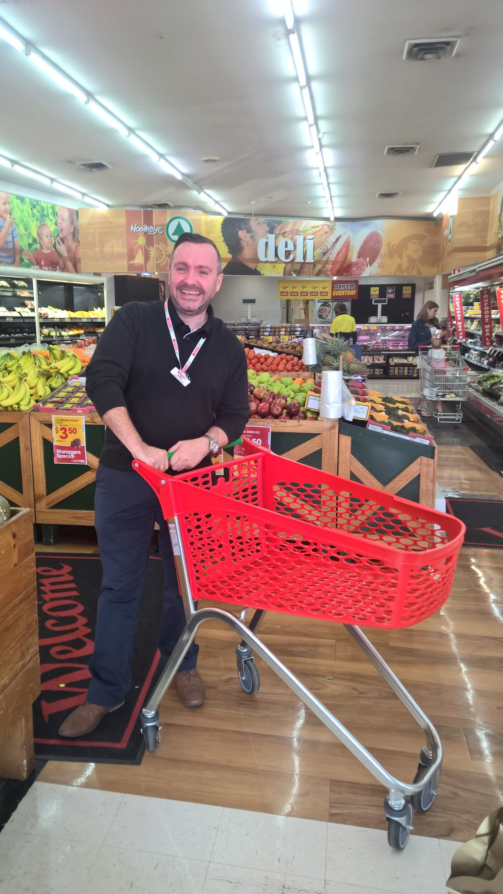 Seen here with our Mini-Hybrid shopping trolley is an elated Jamie - GM Corporate Stores & Online for SPAR Australia.  Head on down to meet Jamie, Kerrie and the team at SPAR Woombye, pick up some specials, essentials, quality produce and at the same time experience a truly unique shopping encounter using Supercart's branded shopping trolleys.