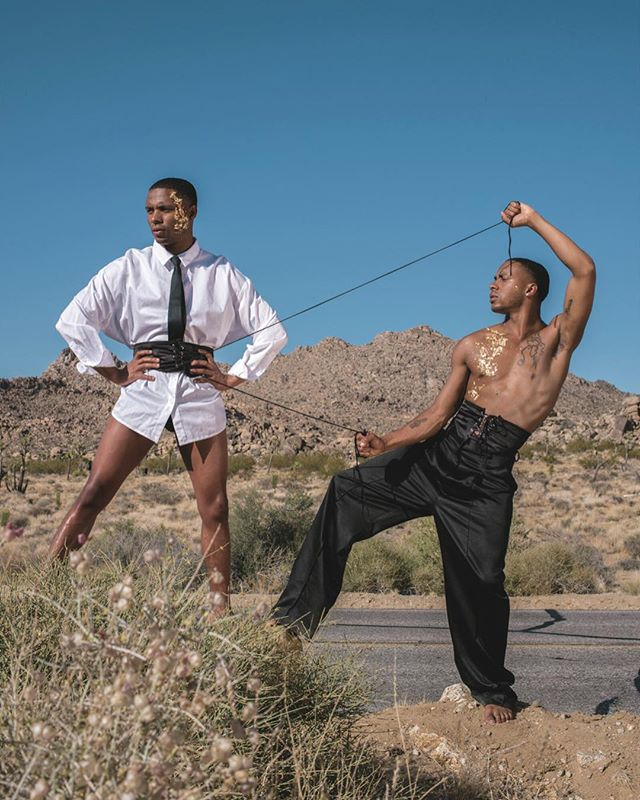 Sometimes you need a lil help pulling your shit together. ⛰🌵@officialharristwins 📸: @thejsharrington 📸📹: @xodustudios  Outfit: @bymenagerie