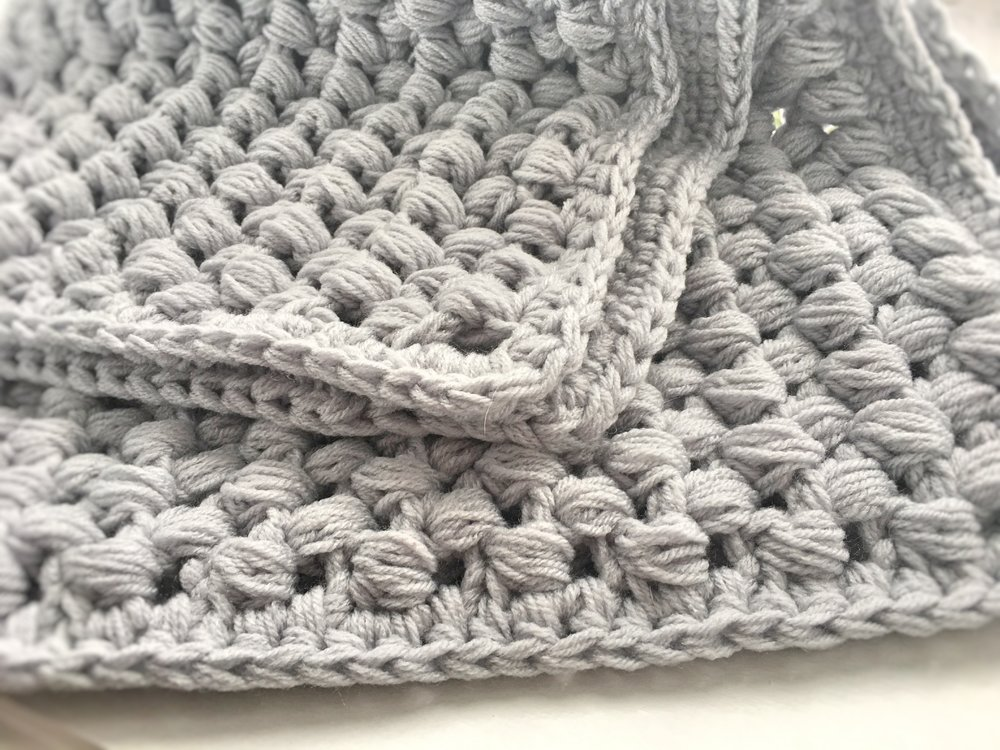 Giant Puff Stitch Baby Blanket Allys Woolery
