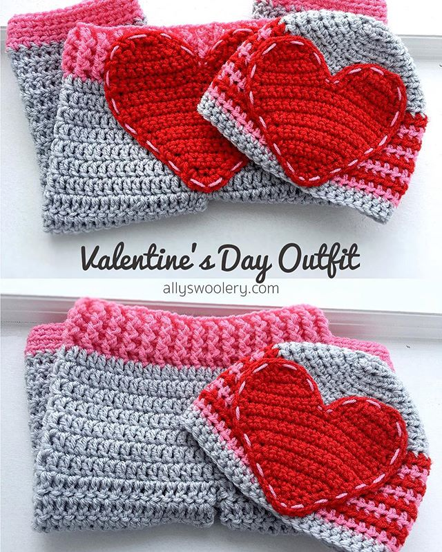 This sweet Valentine's Day Outfit is up on the website as a FREE pattern! ❤ #valentines #valentinesday #crochet #crochetaddict #crocheting #redheart #redheartyarn #allyswoolery