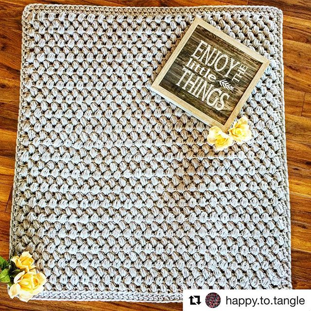 Check out the beautiful blanket @happy.to.tangle made using the Giant Puff Stitch Blanket pattern 💕😁 #allyswoolery #crochet #crocheting #crochetisfun #handmade #crochetaddict #redheartyarn #supersaver #redheart #babyblanket #nurserydecor