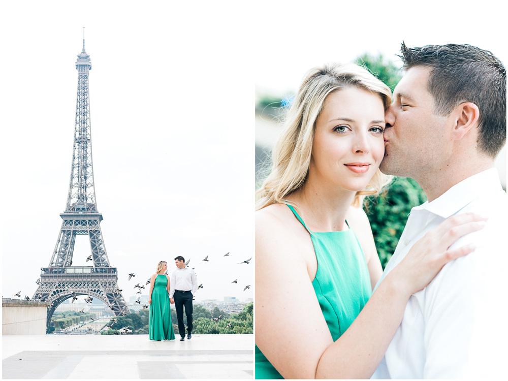 First wedding anniversary in Paris near the Eiffel tower