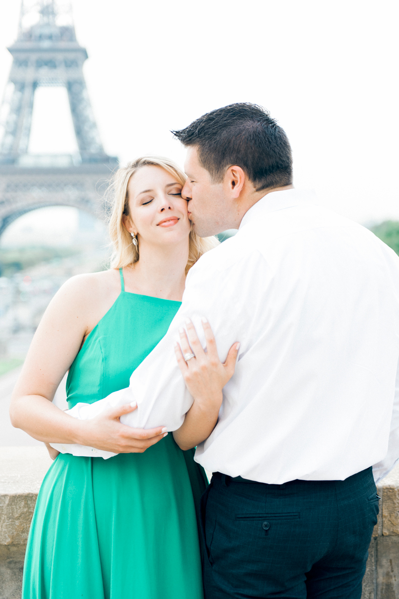 Paris photographer - Jessi and Nick celebrating their one year anniversary at the Eiffel Tower in Paris