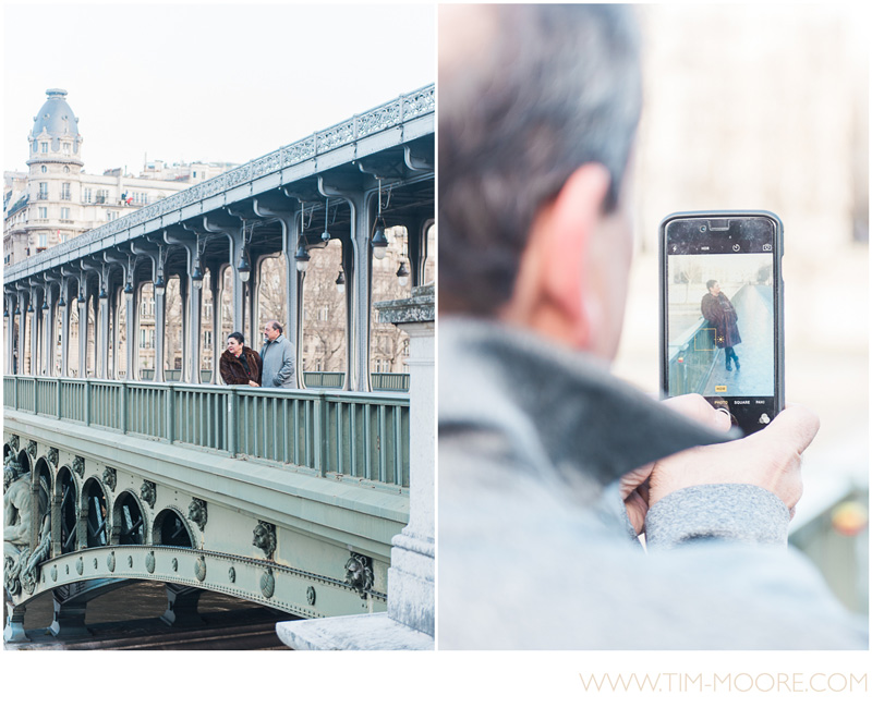 Enjoying a view of the Seine River from one of the most impressive bridge in Paris during a couple photo shoot with Tim Moore.