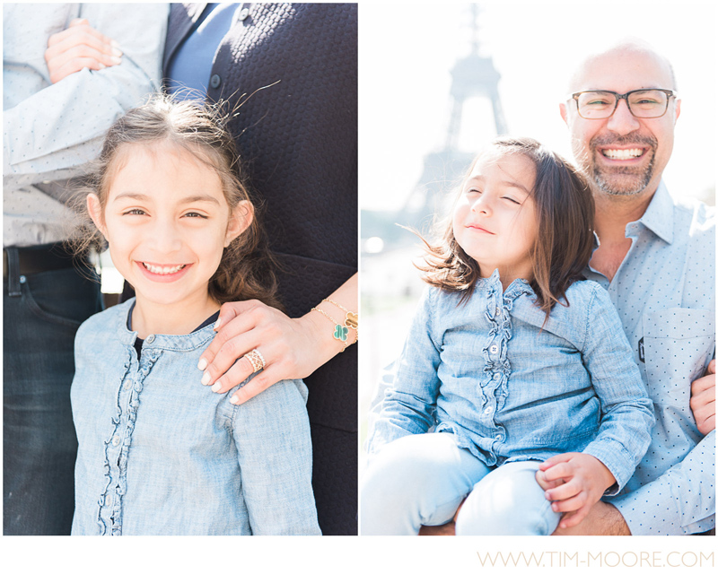 Kam having fun with his daughters during a family photo shoot in Paris