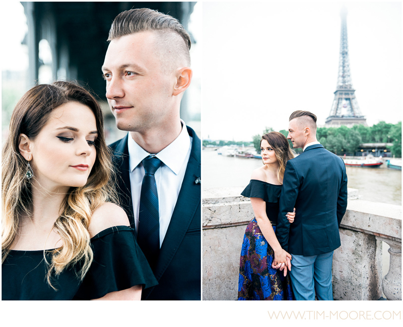 Paris photographer Tim Moore taking pictures of this gorgeous couple in front of the Eiffel Tower in Paris