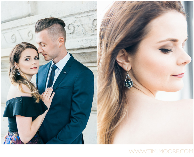Portrait of this beautiful couple during their photo session in Paris with Tim Moore