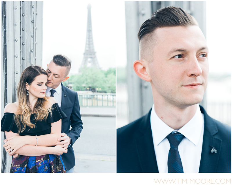 Wonderful shots of Carina and Vladimir hugging in Paris during their photo session next to the Eiffel Tower