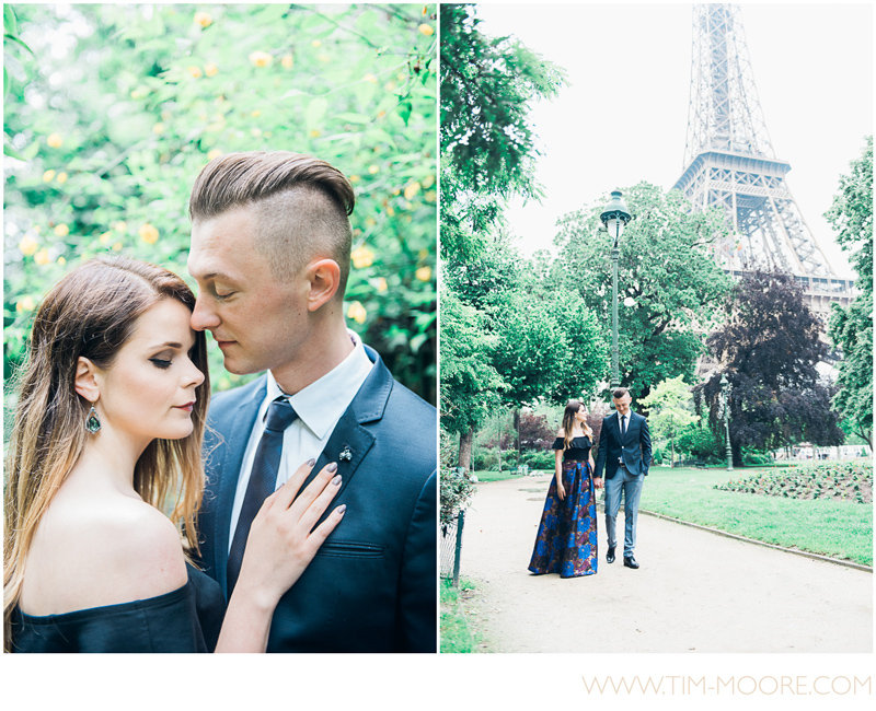 Our beautiful couple walking together by the Eiffel Tower in Paris during their session with Paris Photographer Tim Moore