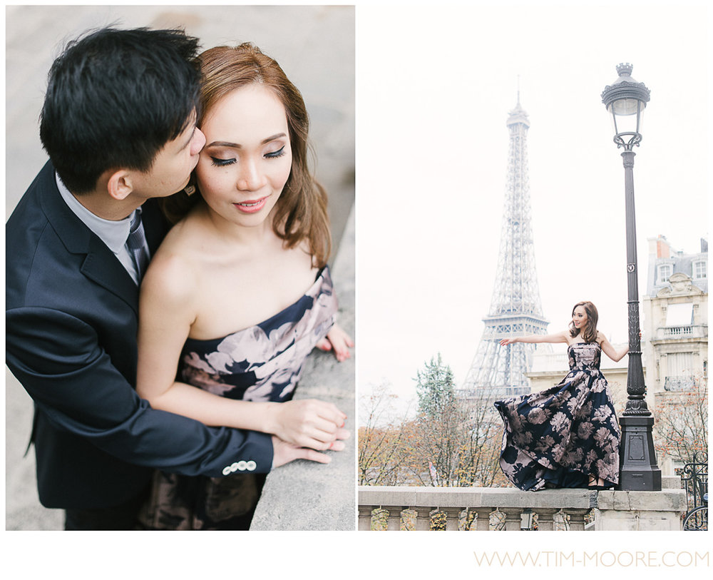 Paris photographer Tim Moore - Mink and Herlina engagement photo shoot in Paris. Fall warm colors, the Eiffel tower and the very special connection between these two love birds made it a very special moment of their lives.
