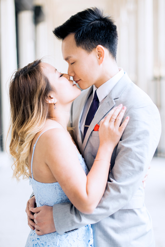 Paris engagement photographer - romantic kiss