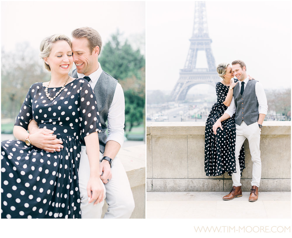 Paris Photographer - Couple in Love laughing together in front of the Eiffel Tower during their Paris photo shoot
