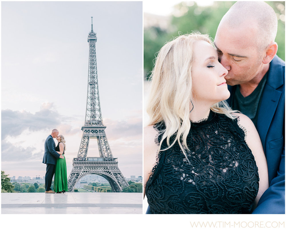 Paris photographer Tim Moore - Our couple of the day deeply in Love during their photo session in Paris around the Eiffel Tower area