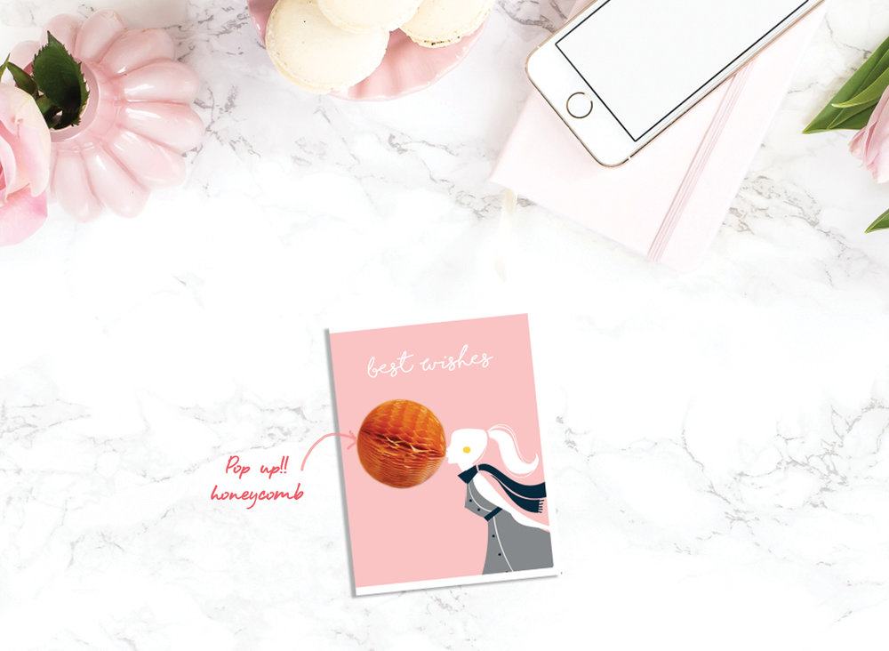"BUBBLEGUM POP UP CARDS  Set of: 6 cards. Click to enlarge.  280 GSM TEXTURED PAPER  Size: 4.25"" (w) x 5.5""(h) Folded cards - blank inside   ₹ 450/-     BUY NOW"