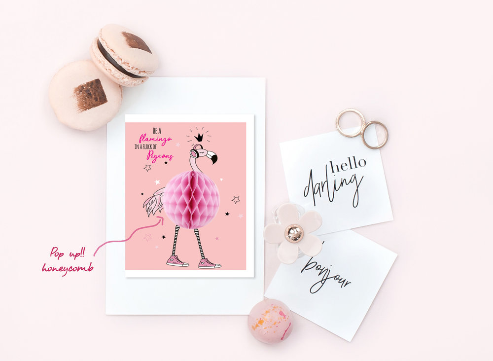 "FLAMINGO POP UP CARDS  Set of: 6 cards. Click to enlarge.  280 GSM TEXTURED PAPER  Size: 4.25"" (w) x 5.5""(h) Folded cards - blank inside   ₹ 450/-     BUY NOW"