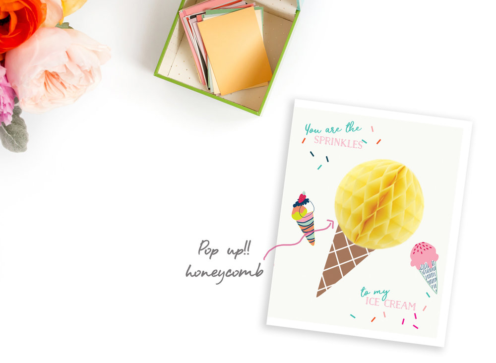 "icecream POP UP CARDS  Set of: 6 cards.  280 GSM TEXTURED PAPER  Size: 4.25"" (w) x 5.5""(h) Folded cards - blank inside   ₹ 450/-     BUY NOW"