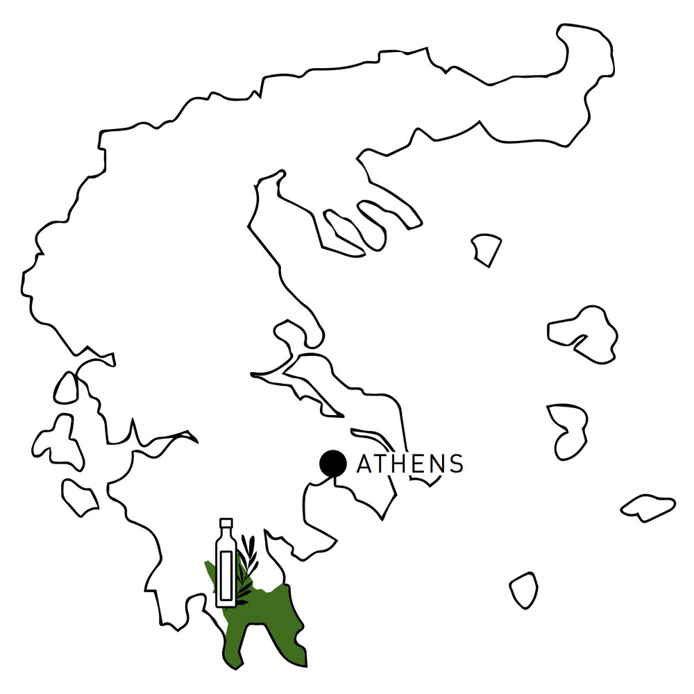 Map of Olive Oil Harvesting Region, Greece | Map of Laconia | Olea of Monemvasia
