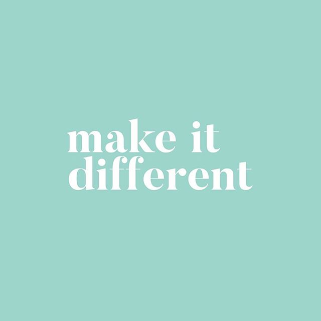 DIFFERENT // Whether it's the tone of your copy, the content you're marketing with or the way you offer your products or services - MAKE IT DIFFERENT. Find the gap - the need that isn't being addressed in the market - and create demand by standing out. One of the biggest clues you'll get is when you see everyone doing the same thing. Do some market analysis, get some feedback, go back to your mission, vision, and values for your brand and most importantly, the needs and wants of your target market. Find a better way - find the opportunity 👊🏼