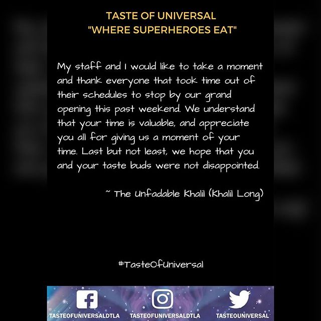 THANK YOU! #grateful #support #tasteofuniversal #dtla #thankful #supportsmallbusiness #customer #grandopening #california #goodfood #fresh