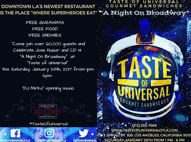 "Come out tmrw and kick it with the staff of Taste of Universal and I as we bring ""Broadway back"". #Blockparty on #6thst. #dtla #food #goodtimes halaal #fresh #bringbroadwayback"