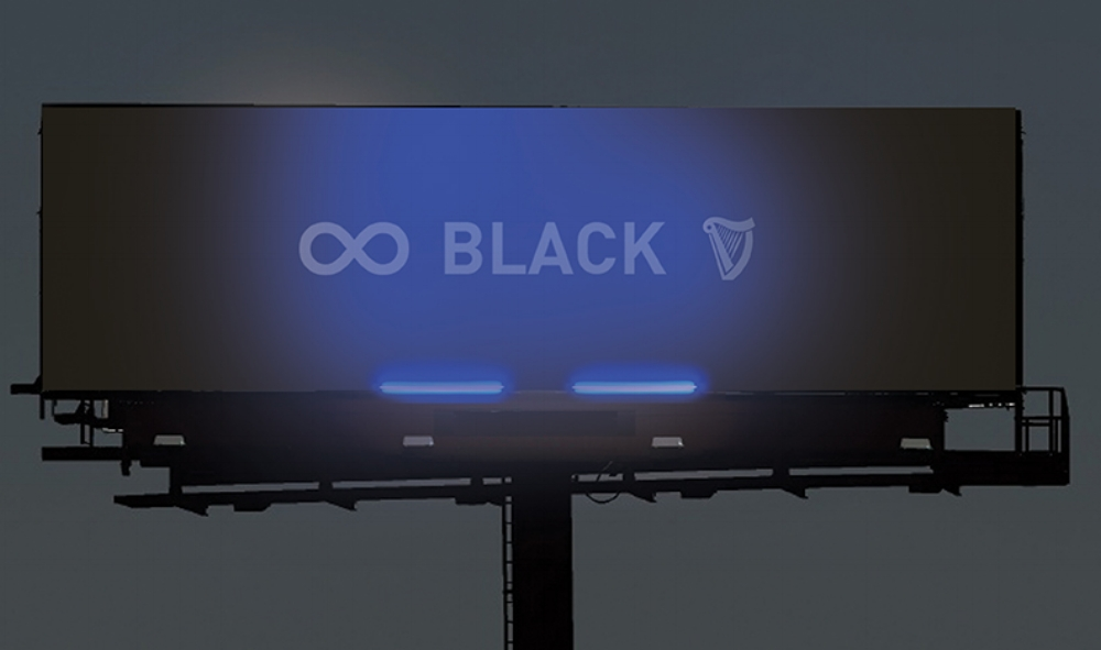 BILLBOARDS ARE BLACK DURING THE DAY & ILLUMINATE AT NIGHT WITH BLACKLIGHT BULBS