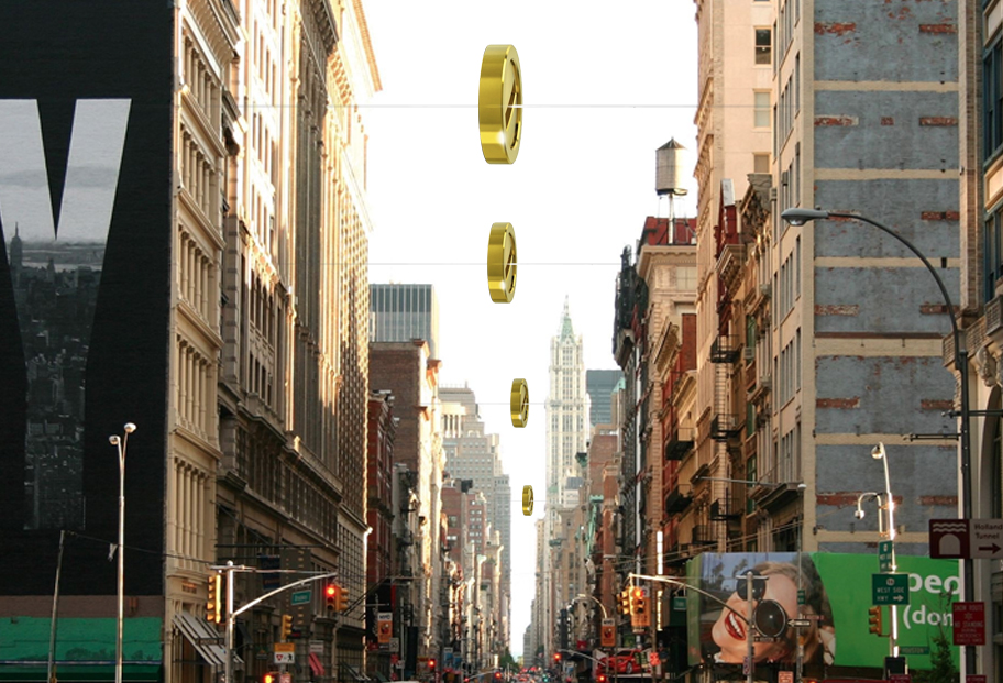 GIANT COINS SUSPENDED IN TIMES SQUARE