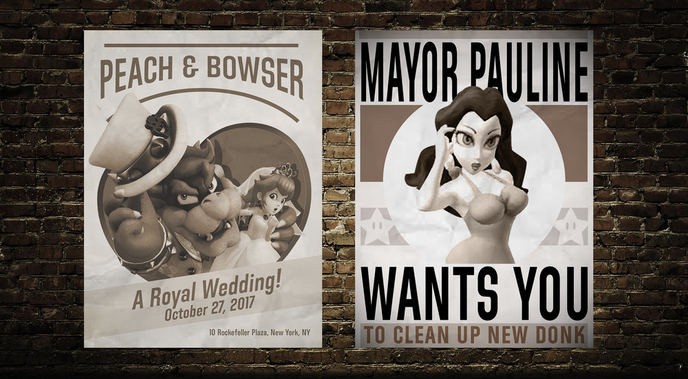 Posters feature characters of the game and hints at their storylines.