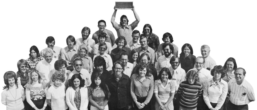 David Bunnell, front and center in a staff photo of MITS employees, mid-1970s (photo courtesy of Living Computers Museum + Labs)