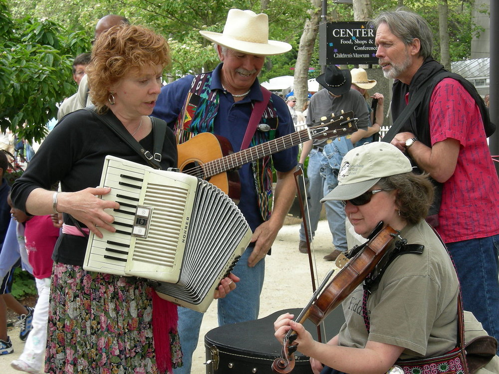 Musicians using the Seattle Center. Image by Joe Mabel,used in terms of a  Creative Commons  Attribution-Share Alike 4.0 International license.