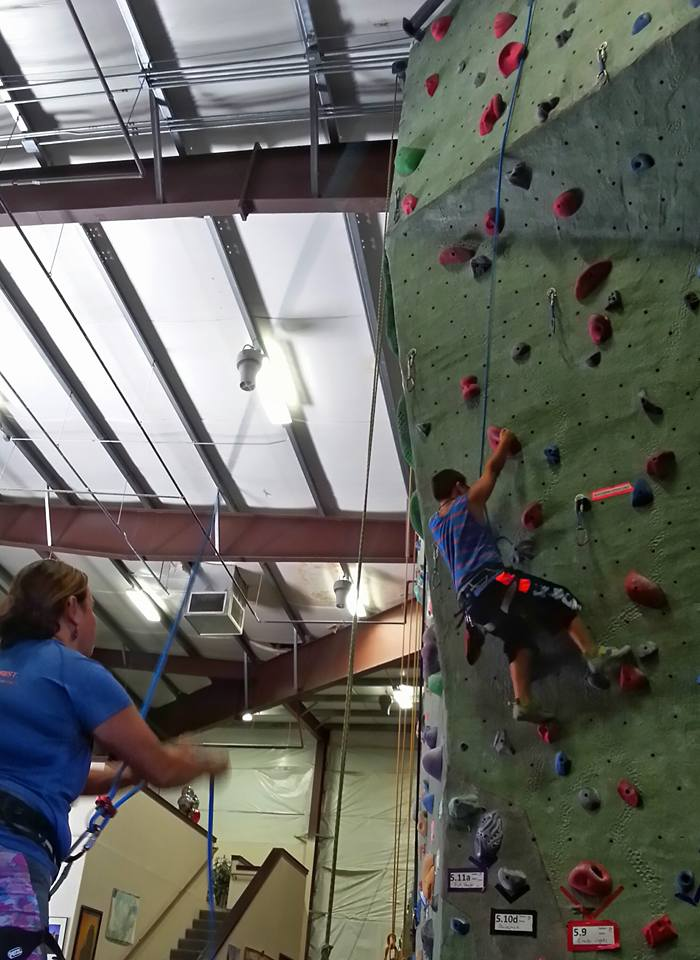 Me belaying Ilias on the wall.