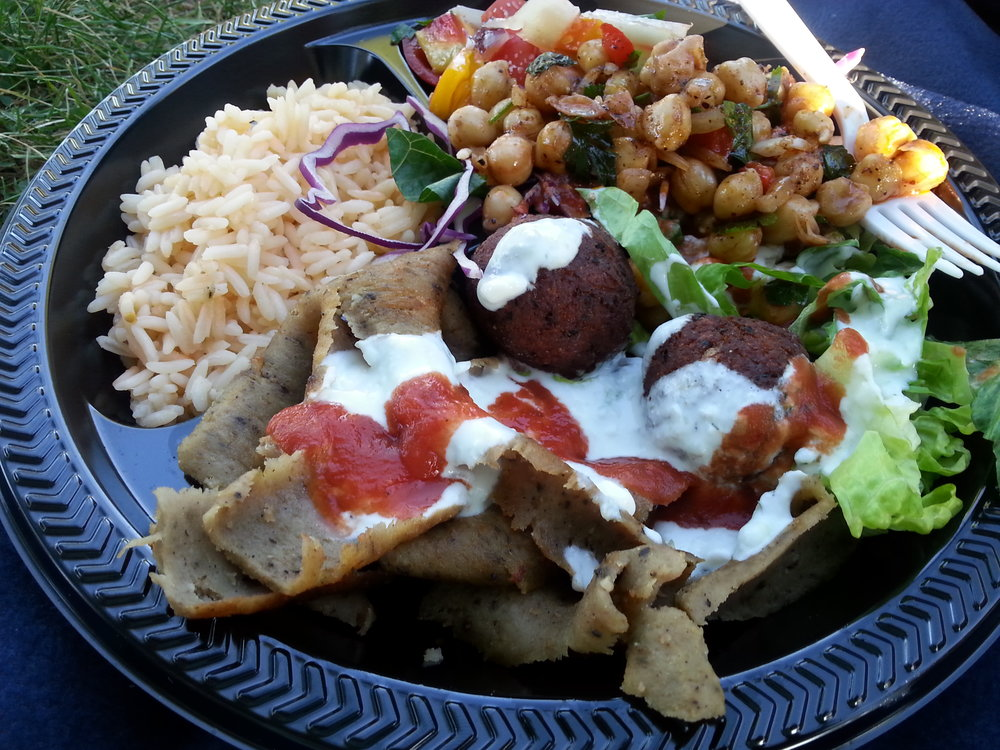 Falafel and Gyro plate winery dinner special.