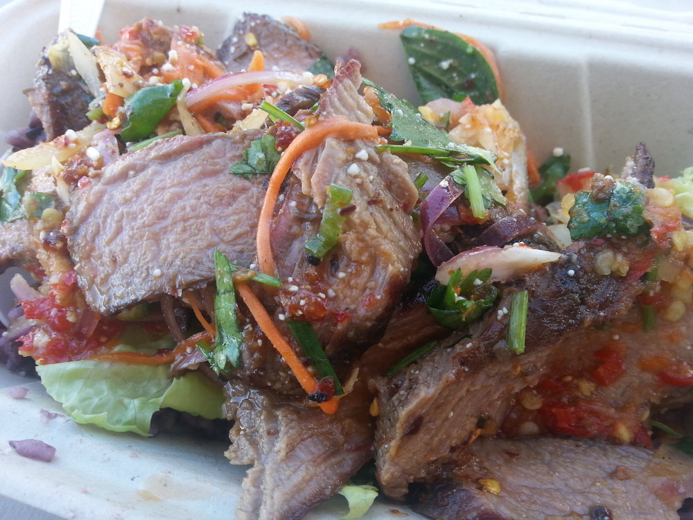 Yum Nue - Spicy Beef Salad (I always ask for it extra spicy and then add her home made hot chili sauce)