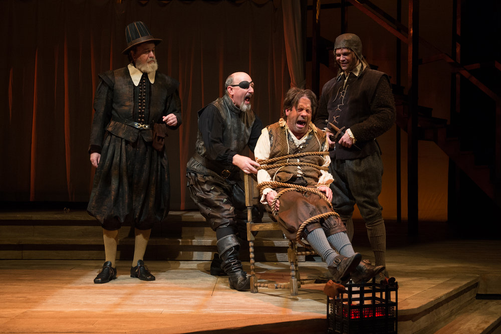 Fennyman (Tony DeBruno, left) enlists his henchman (Russell Lloyd, Rex Young) to extract the considerable sum of money owedhim by Henslow (Brent Hinkley, center).                           Photo by Jenny Graham