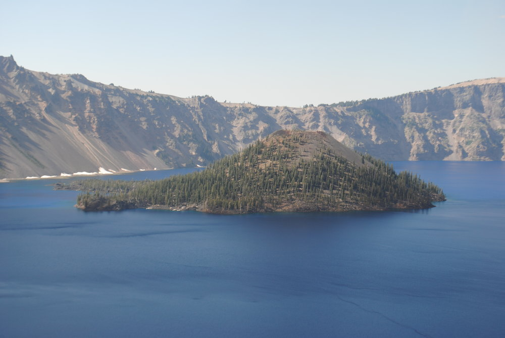 Wizard Island - Crater Lake - It was smokey from a nearby fire.