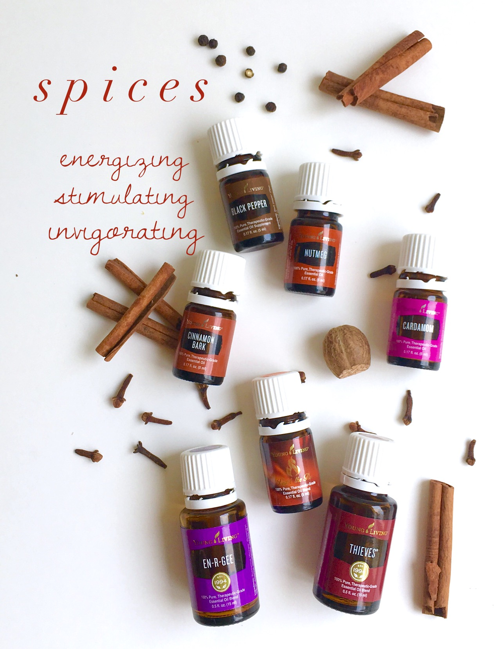 Cinnamon Bark, Black Pepper, Nutmeg, Clove, and Cardamom are spice oils. Light the Fire, En-R-Gee, and Thieves are great blends of spices.